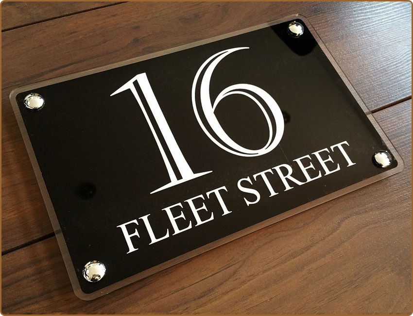 Modern house sign a4 plaque door number glass for Modern house number plaques
