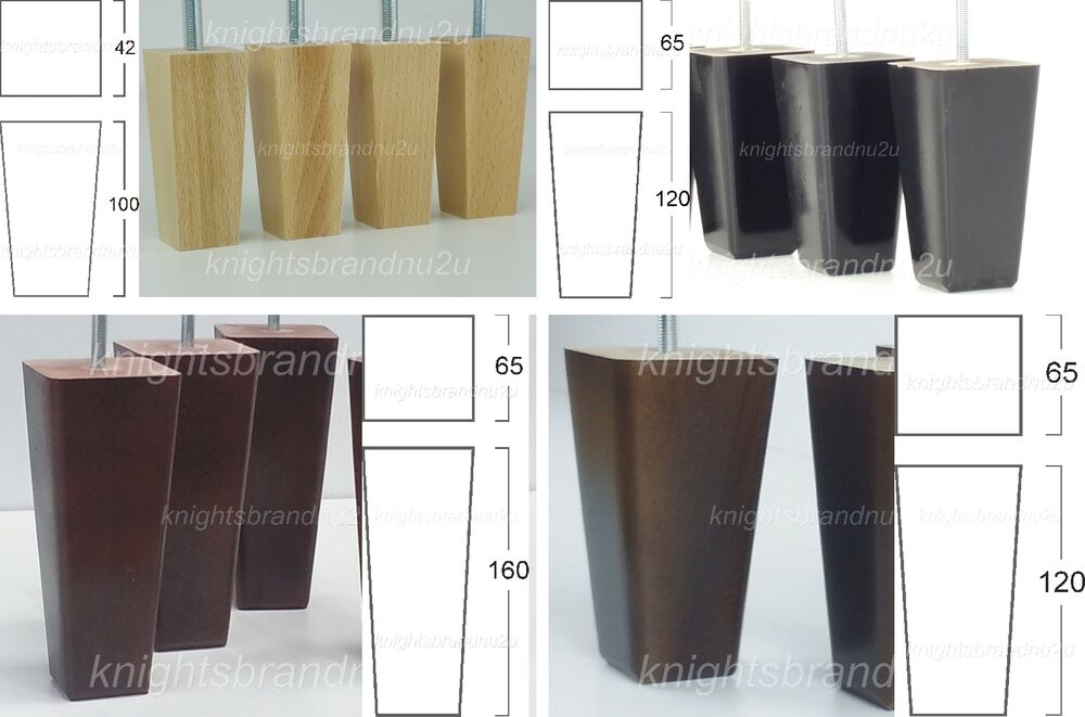 4x wooden furniture legs replacement feet for sofa chairs settees m10 ebay. Black Bedroom Furniture Sets. Home Design Ideas