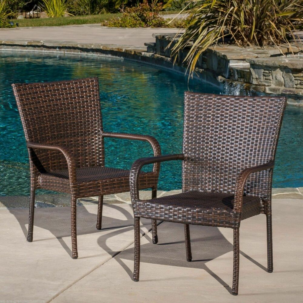set of 2 outdoor patio furniture brown wicker stackable dining chairs ebay. Black Bedroom Furniture Sets. Home Design Ideas