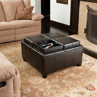 4-Tray-Top Espresso Leather Storage Ottoman & Coffee Table