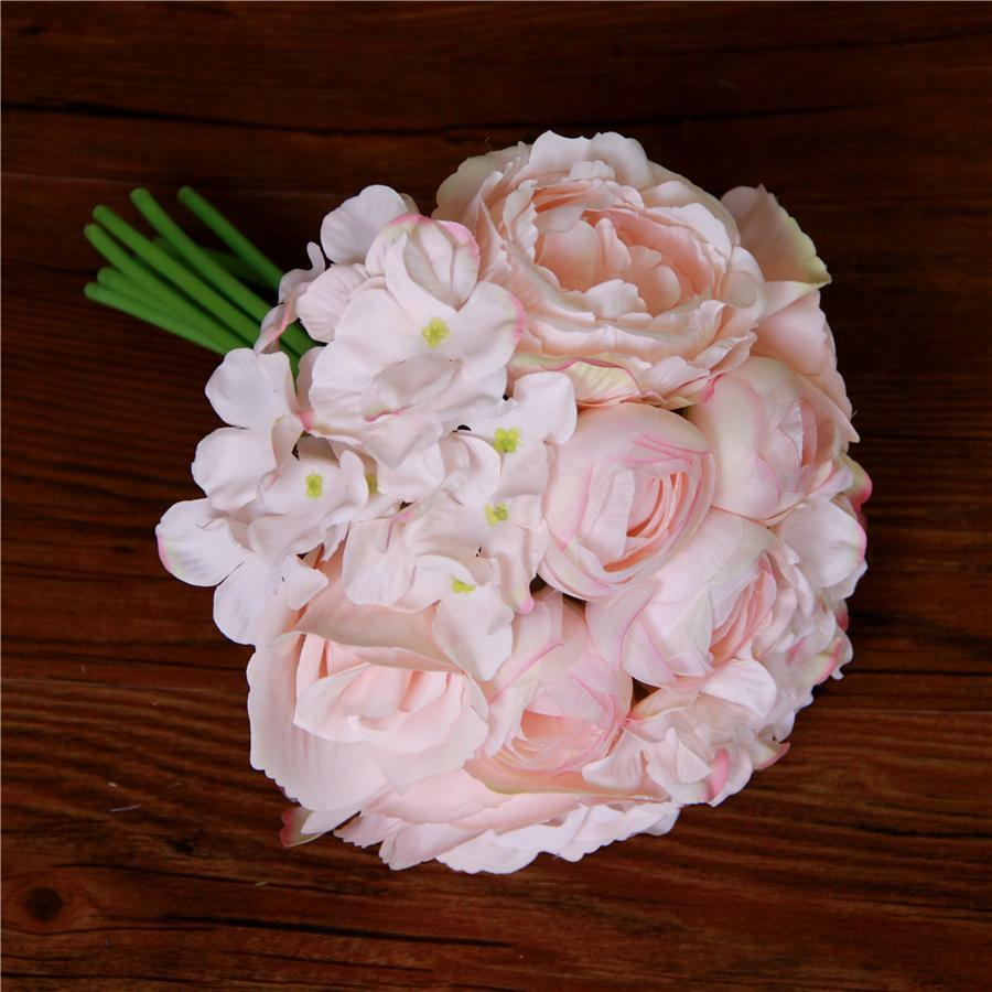 Peony hydrangeas silk posy roses flowers party wedding bridal bridesmaid bouquet ebay - Flowers good luck bridal bouquet ...