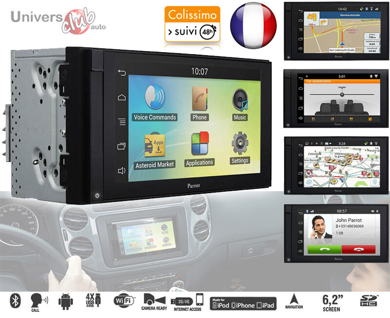 autoradio officiel parrot asteroid smart double din 2 din android waze gps ebay. Black Bedroom Furniture Sets. Home Design Ideas