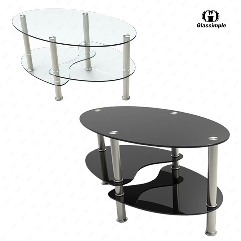 Bn Clear Black Glass Oval Coffee Table With Shelves And Chrome Legs Living Room Ebay