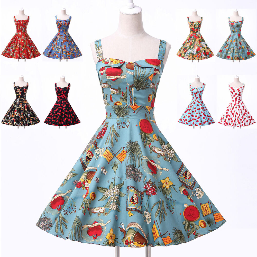 hepburn 50 39 s vintage dresses retro party pin up swing cherry dresses ebay. Black Bedroom Furniture Sets. Home Design Ideas