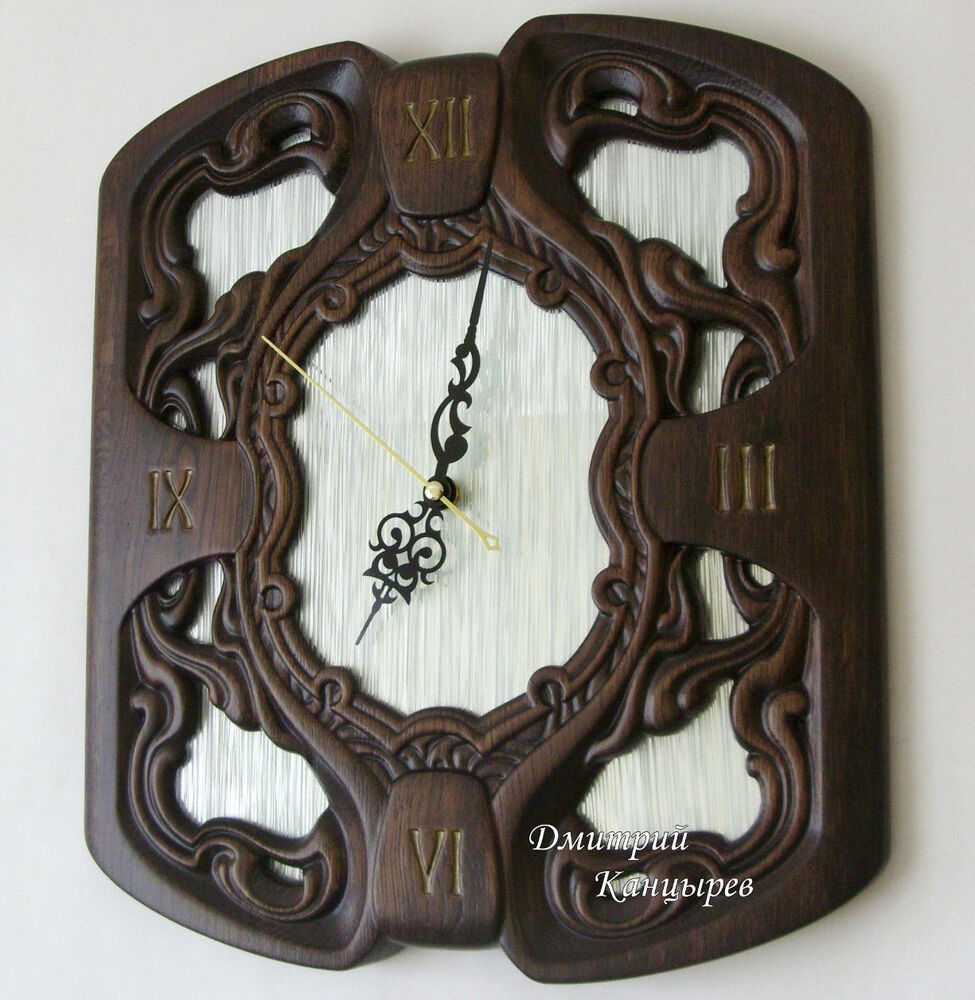 Wall Clock Decoration Interior Design Luxe Wooden Carved