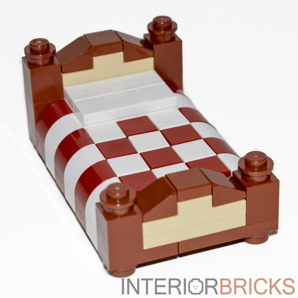 Lego Furniture Full Size Bed Red White Bedding