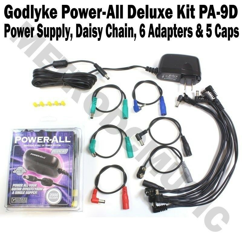 godlyke power all 9v deluxe kit pa 9d 2a pedal power supply daisy chain cables ebay. Black Bedroom Furniture Sets. Home Design Ideas