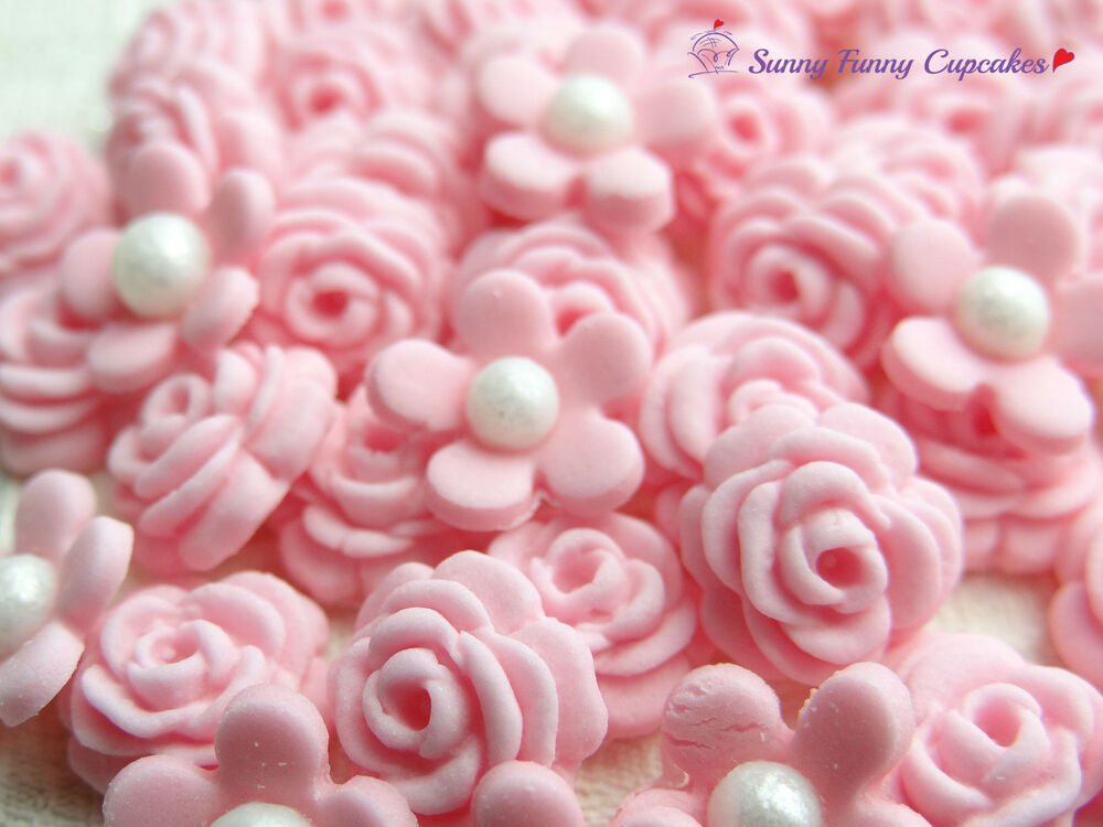 Cake Decorations Flowers Uk : Edible flowers and roses pink, edible cake decorations ...