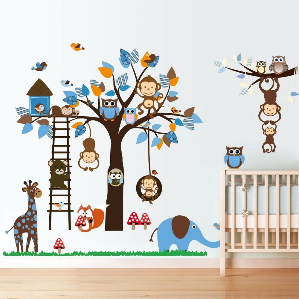 Monkey swing owl hoot animal tree wall decals removable for Baby mural stickers