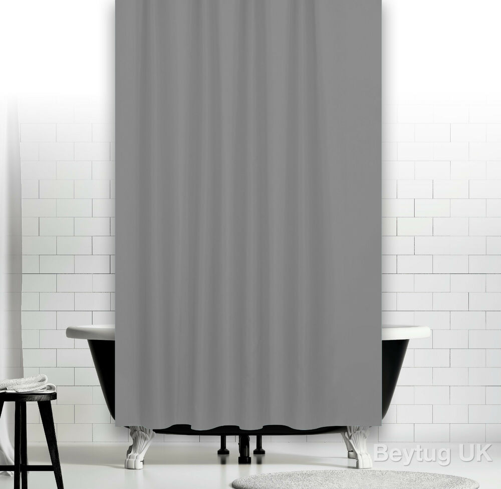 Plain Grey Fabric Shower Curtain In 3 Sizes Extra Long Wide Or Narrow Width Ebay