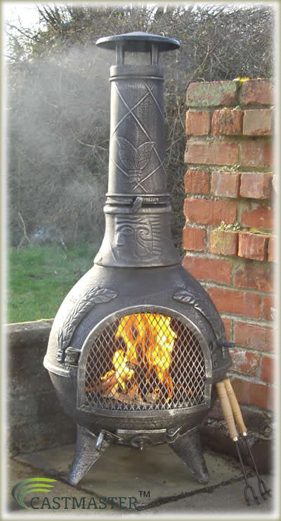 Castmaster mexican aztec style cast iron chiminea chimenea for Mexican chiminea