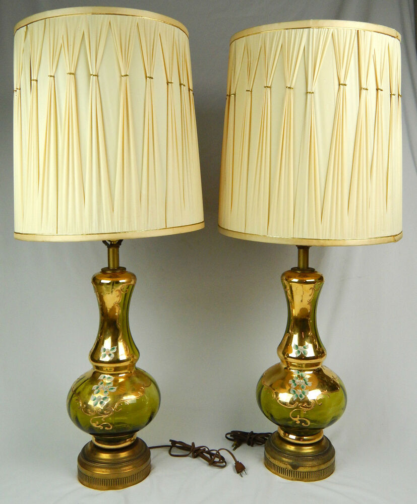 large 38 hollywood regency mcm green gilded table lamps. Black Bedroom Furniture Sets. Home Design Ideas