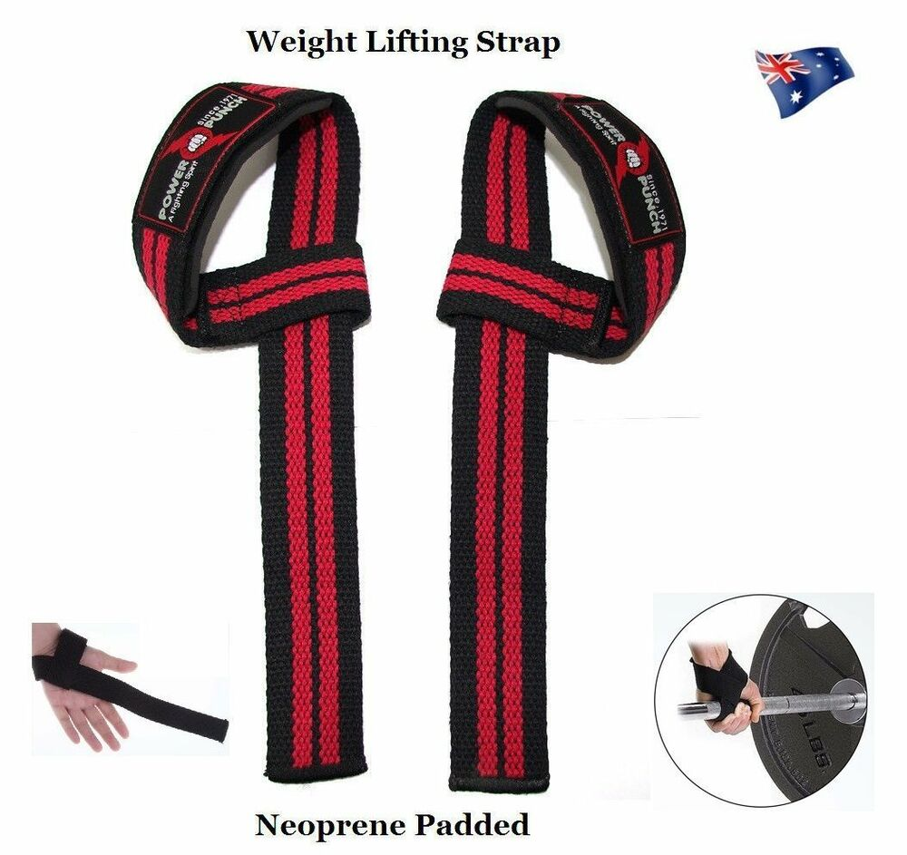 Dam Weight Lifting Gym Gloves Body Building Workout White: POWER PUNCH WEIGHT LIFTING STRAPS. WEIGHTLIFTING
