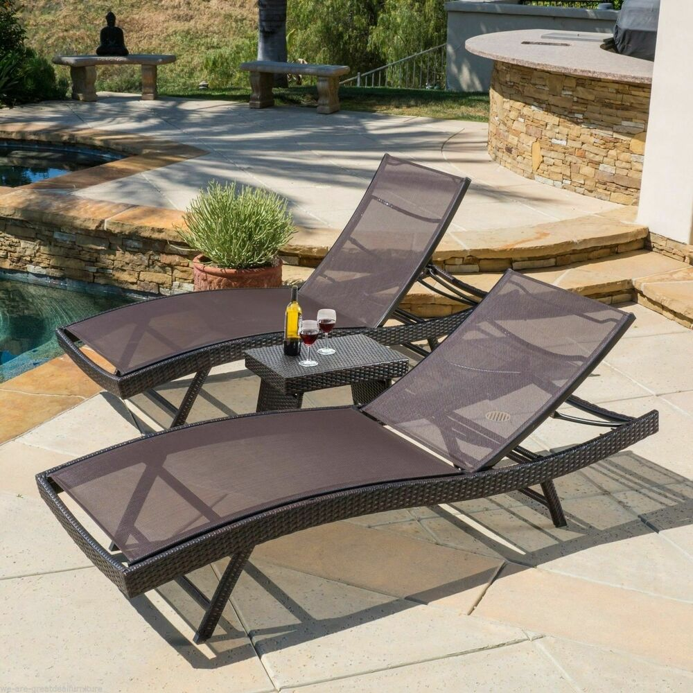 Outdoor Patio 3pc Brown Mesh Adjustable Chaise Lounge