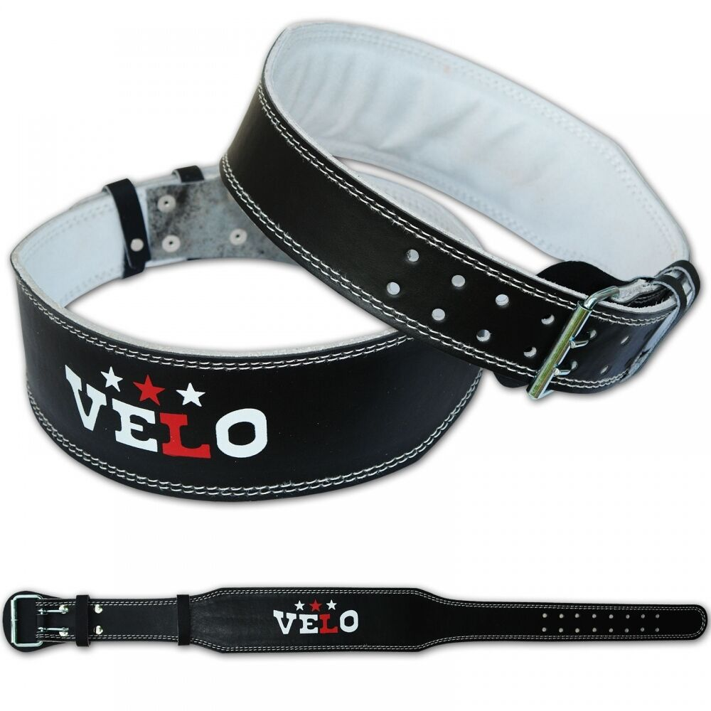 """Belt Lifts: VELO Leather Weight Lifting 4"""" Belt Gym Power Back Support"""