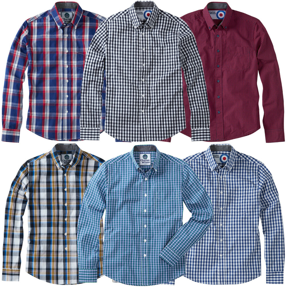 Charles wilson men 39 s cotton gingham check long sleeve for Long sleeved casual shirts