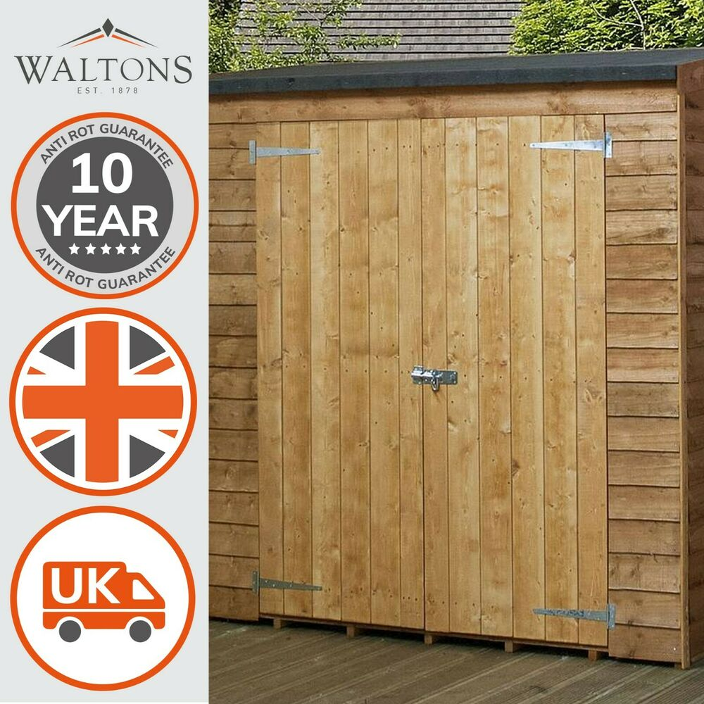 6x3 wooden overlap garden storage shed no window double doors pent roof 6ft 3ft ebay