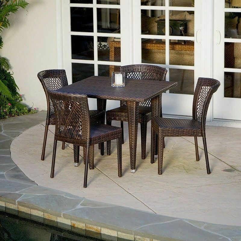 Outdoor Patio Furniture 5pc All weather Brown Wicker Dining Set