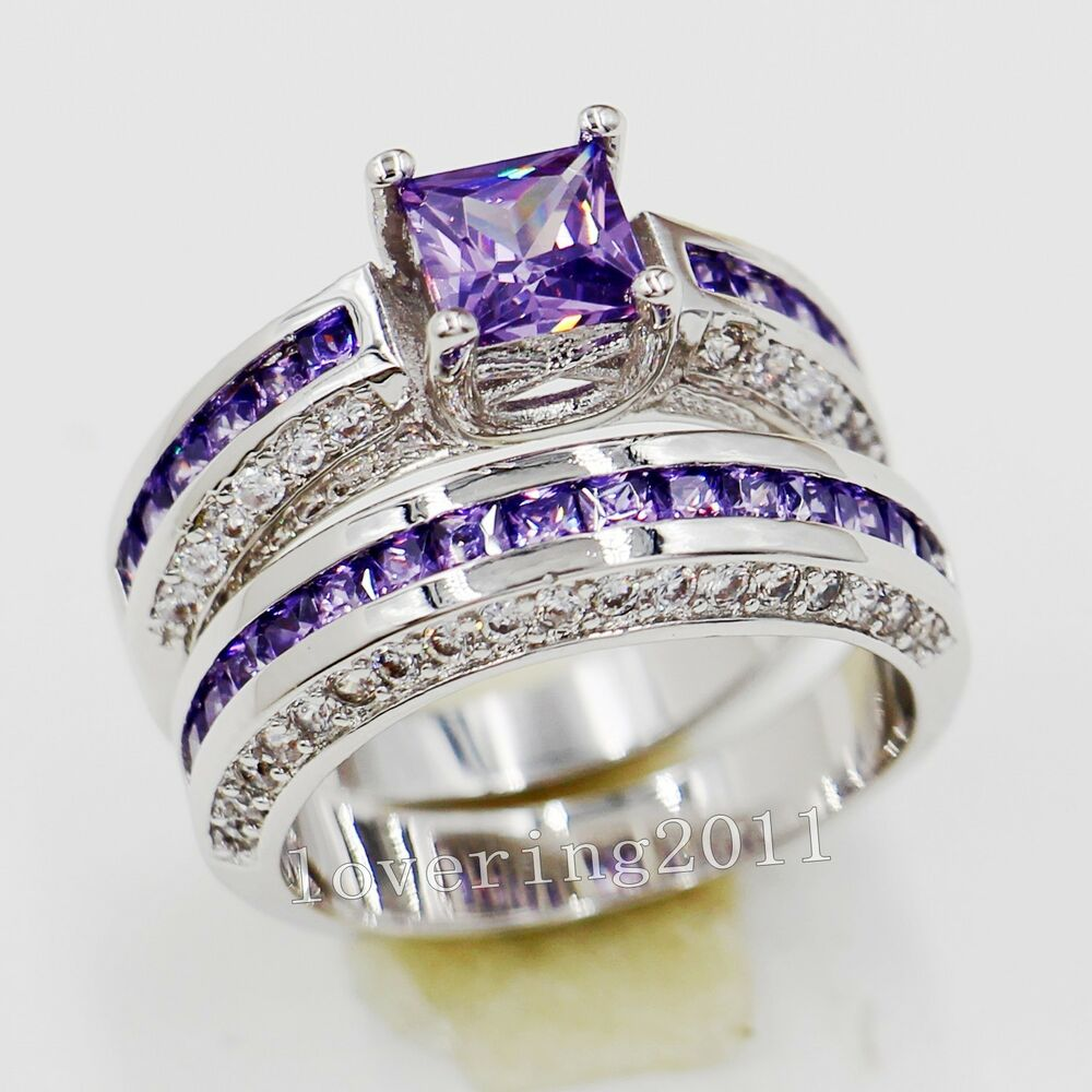 brand princess cut 6mm amethyst 10kt gold filled wedding ring sets sz 5 11 gift ebay - Amethyst Wedding Ring