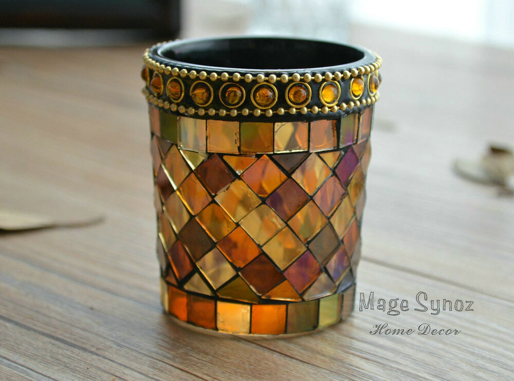 Mosaic Votive Cup Glass Tealight Candle Holder Bar Party