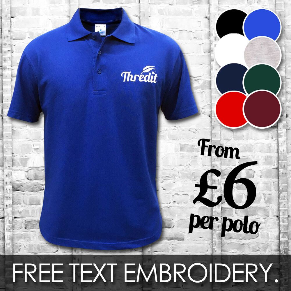Custom Embroidered Printed Polo Shirts Personalised Workwear T
