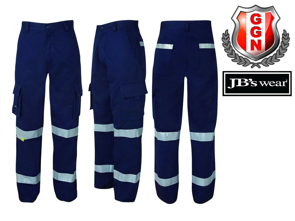 Jbs Cotton Drill Cargo Pants Work Trouser Reflective Tape