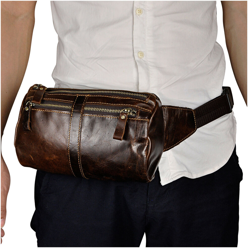 Mens Real Leather Hip Bum Fanny Waist Pack Toiletry Bag