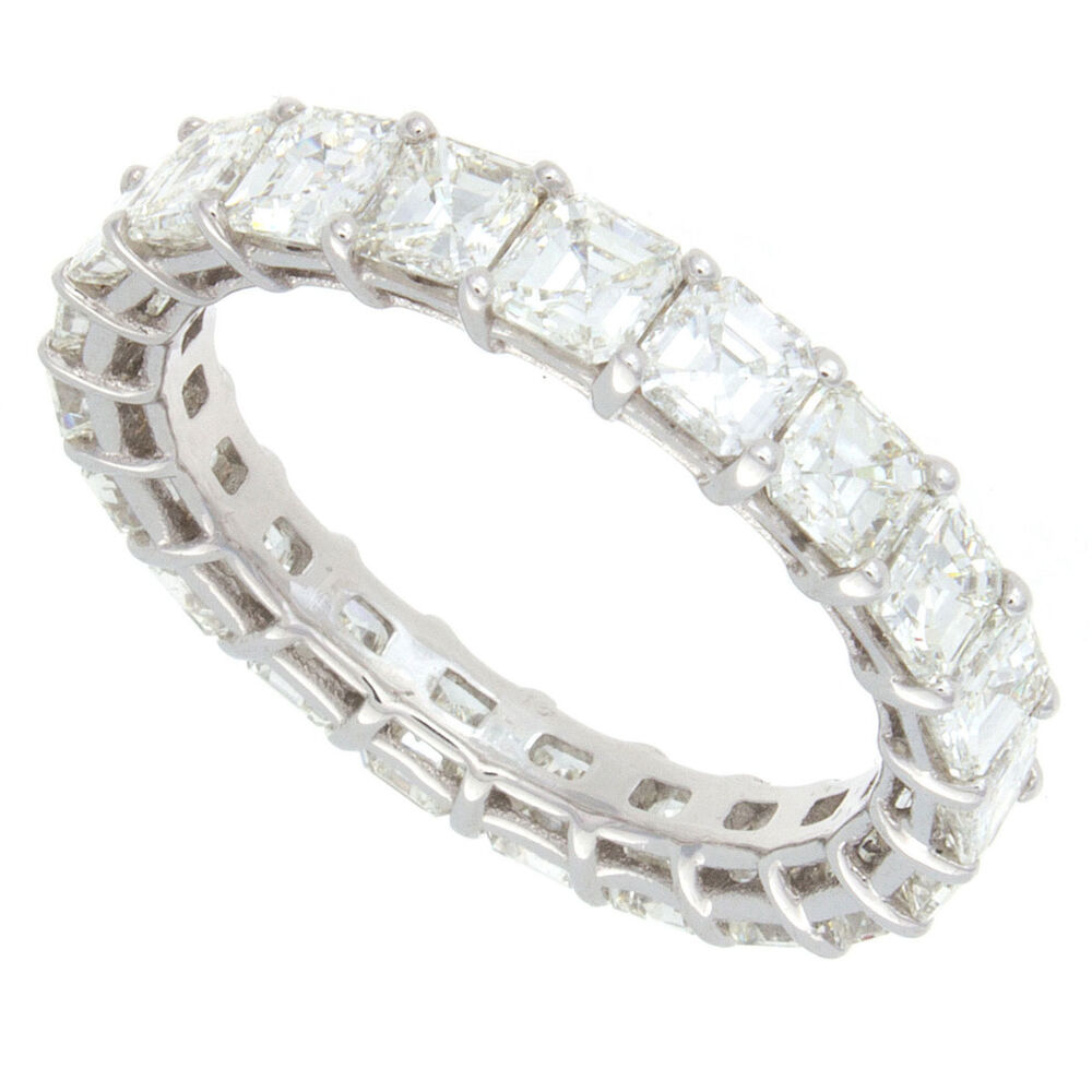 18k h i vs asscher cut diamond eternity band ebay. Black Bedroom Furniture Sets. Home Design Ideas