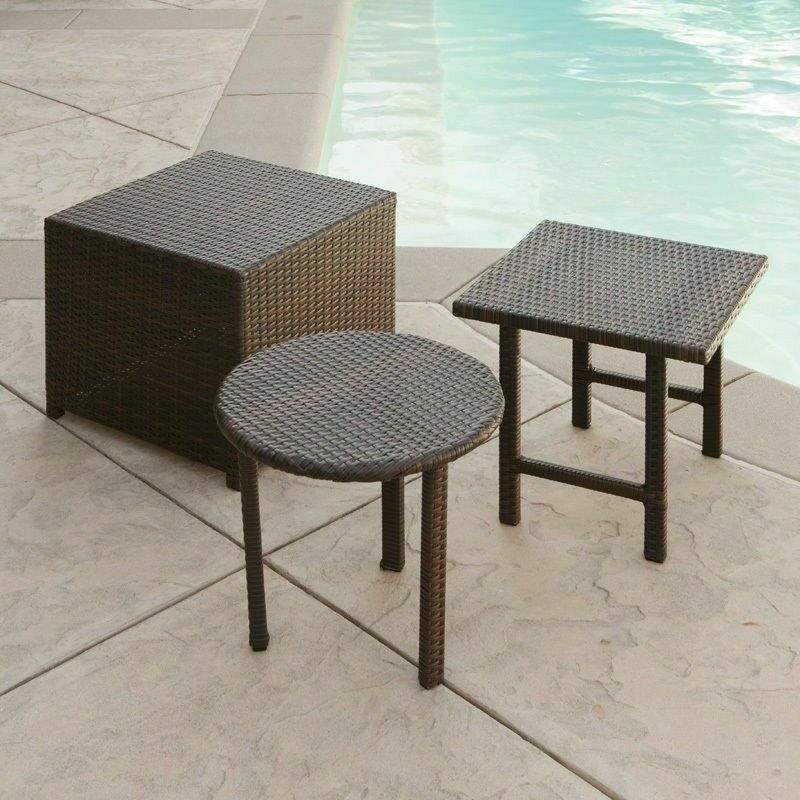 Outdoor Patio Furniture 3pc Brown Wicker Side Table Set Ebay
