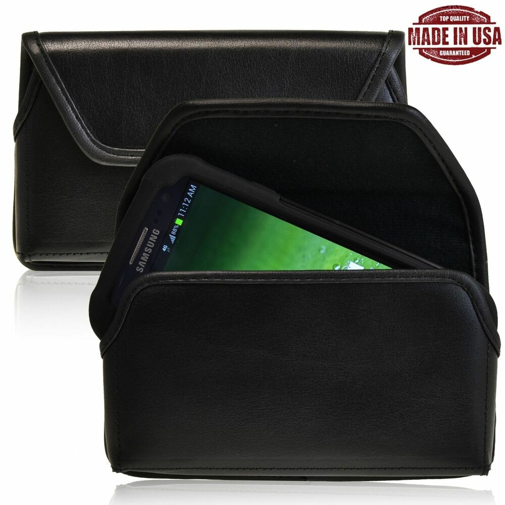... Galaxy S4 Leather Pouch Holster Black Clip Fits Otterbox Case : eBay