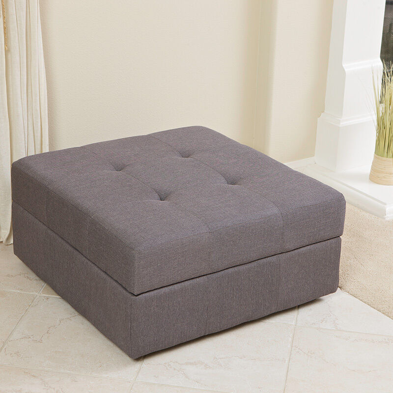 Elegant Spacious Gray Fabric Storage Ottoman Coffee Table With Tufted Top Ebay