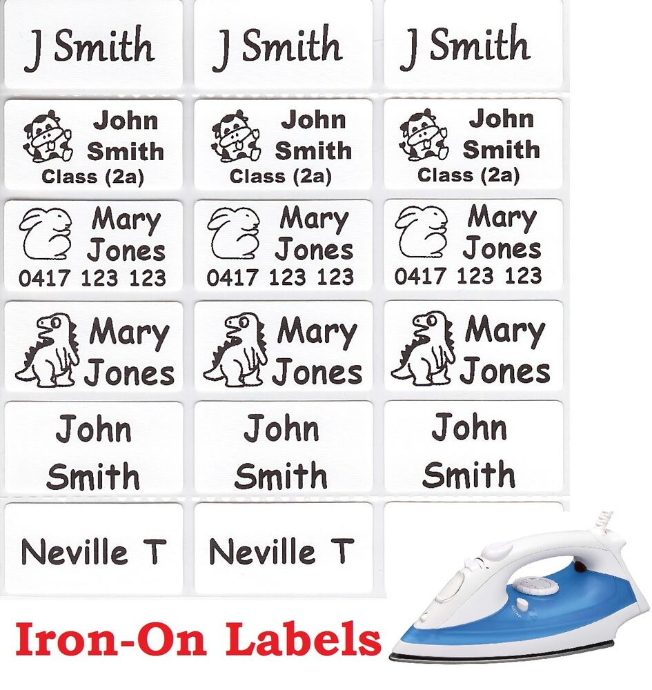 Medium white iron on personalised name clothing labels for Iron on shirt labels