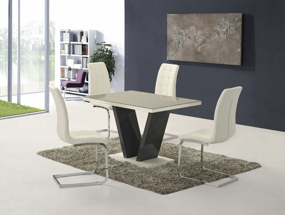 New victor grey cm glass gloss dining table