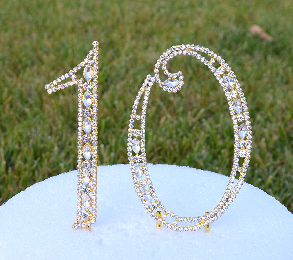 gold bling wedding cake topper 5 quot rhinestone gold number ten10 bling cake topper 10th 10 14748