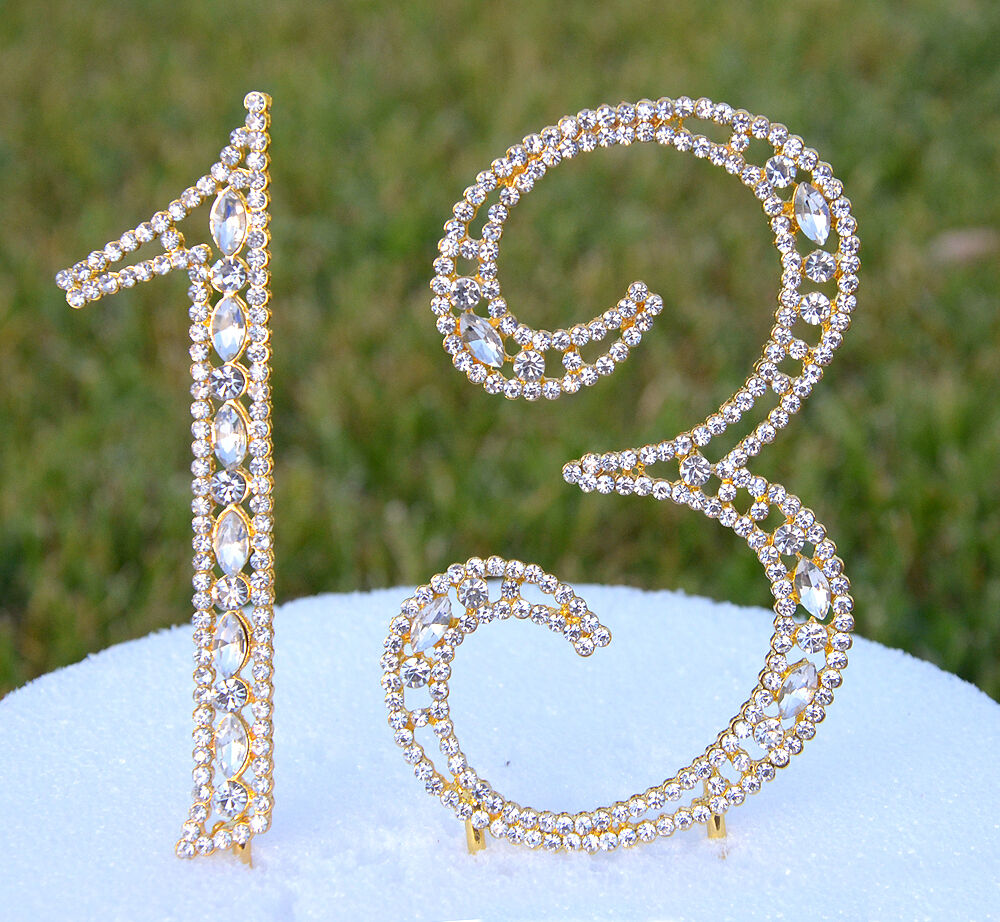 5 Quot Rhinestone Gold Number Thirteen Bling Cake Topper 13