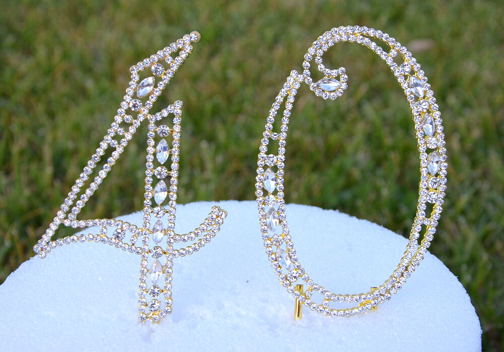 gold bling wedding cake topper 5 quot rhinestone gold number forty 40 bling cake topper 14748