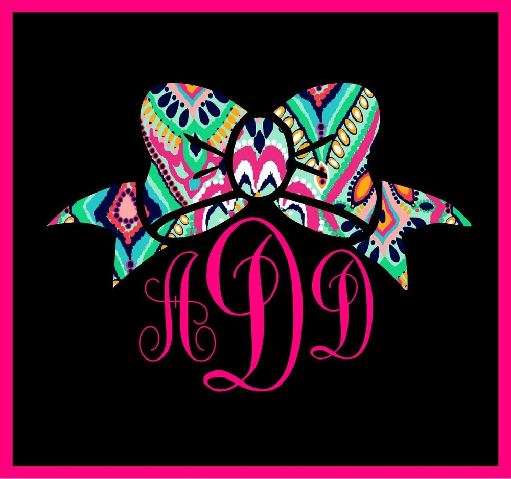 "5"" MONOGRAM CUSTOM PRINT BOW PREPPY GIRLY VINYL DECAL"