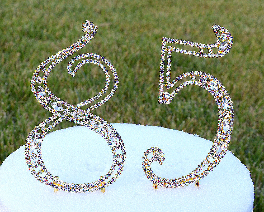 gold bling wedding cake topper 5 quot rhinestone gold number eight five bling cake topper 85 14748