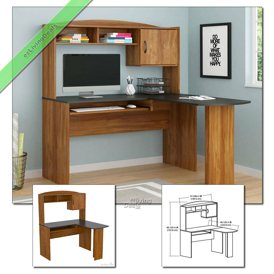 Home office desk with hutch l shaped wood corner computer desks alder black ebay - Home office corner desk ...