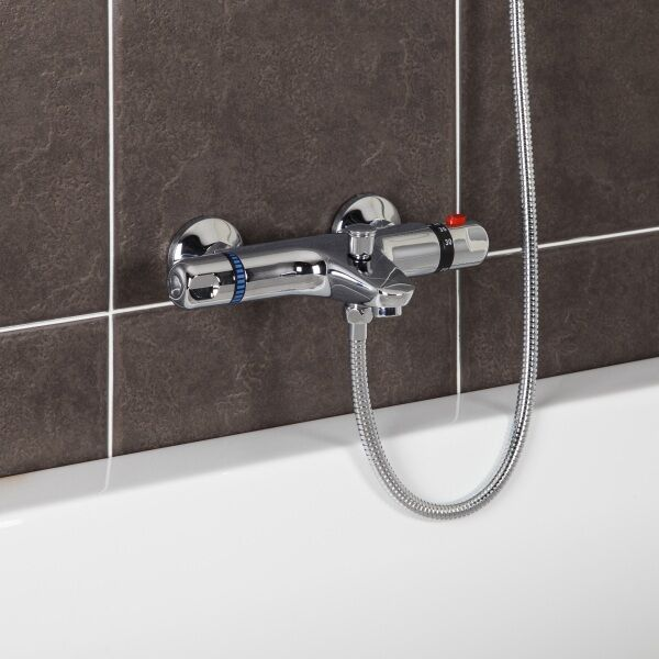 Deck Mounted Chrome Plated Brass Thermostatic Mixing Valve: Modern Thermostatic Bath Shower Mixer Tap Wall Mounted