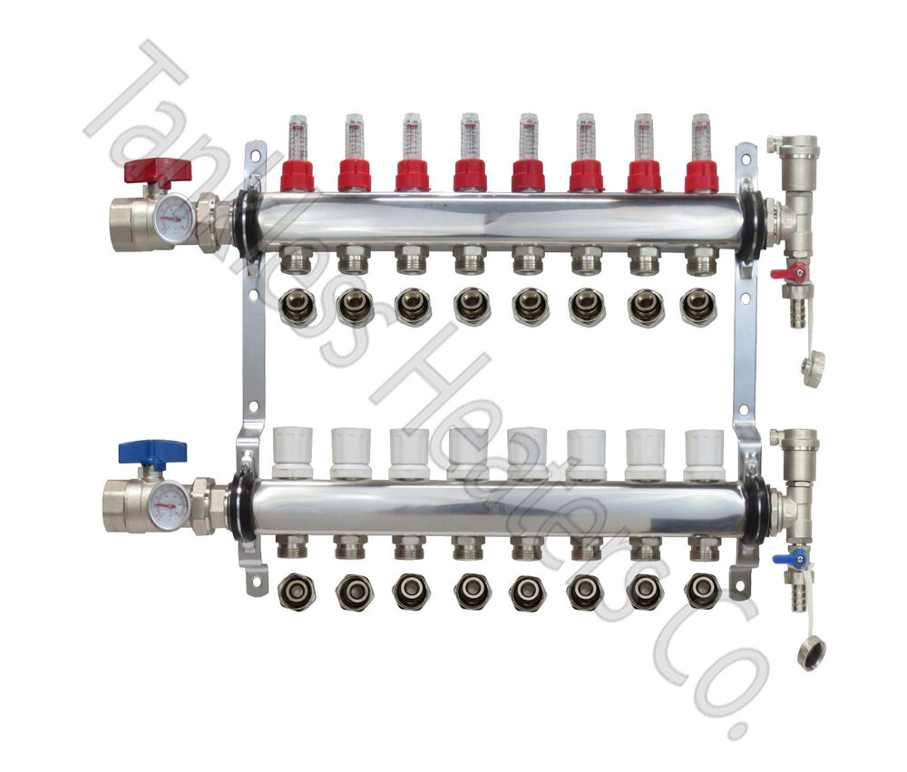 Stainless Steel 2-12 Branch Sizes PEX Radiant Floor Heating Manifold Set