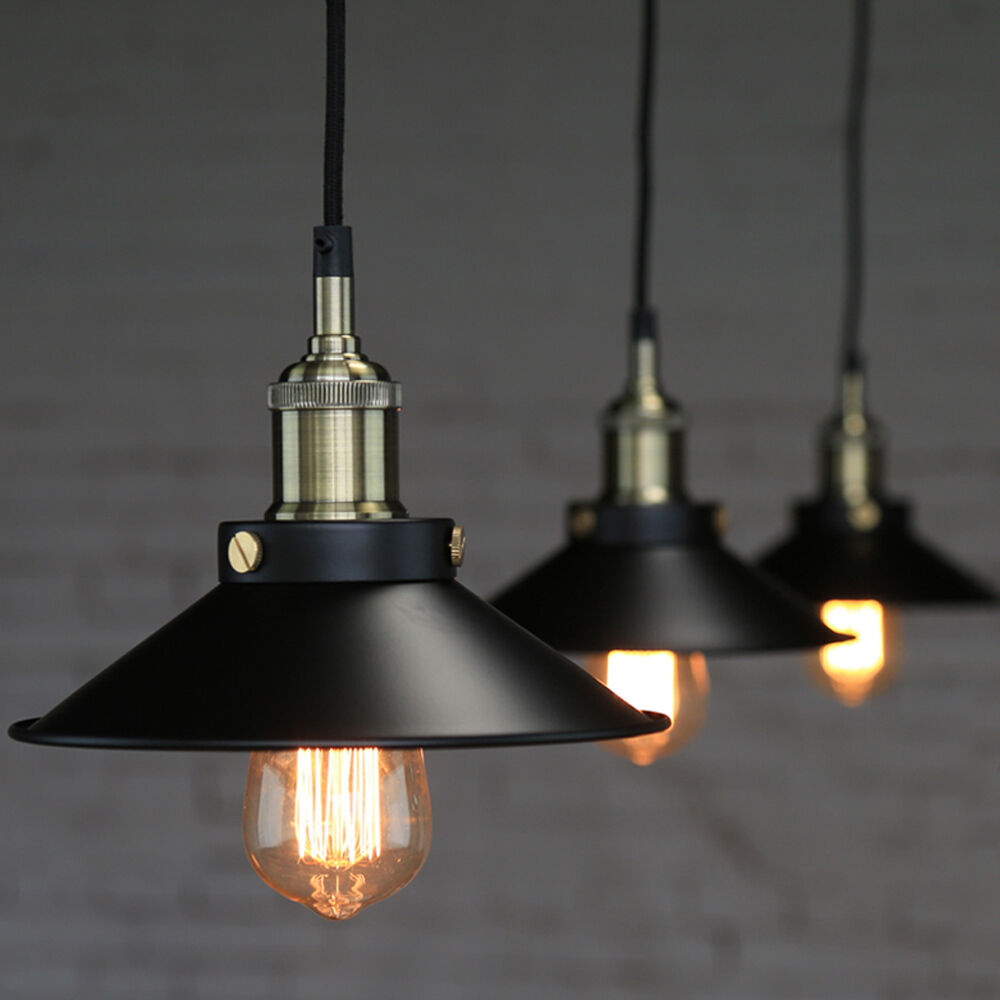 Industrial vintage pendant loft lampshade ceiling light for Luminaire noir suspension