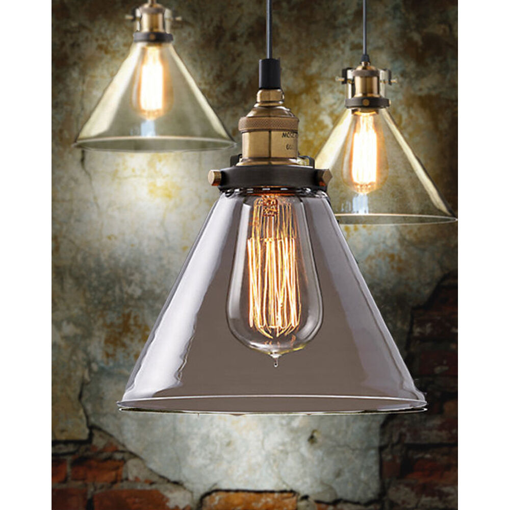 Ceiling Lamp Shades For Living Room: Euro Edison Bulbs Glass Lamp Shade Ceiling Light