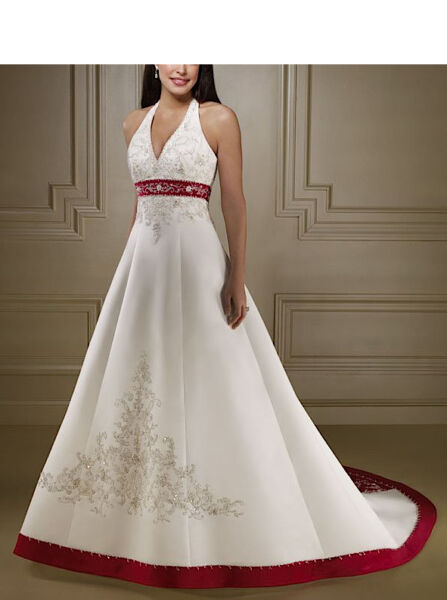 Abito da sposa Bianco e Rosso - Wedding dress White and Red - Impero - 00115B