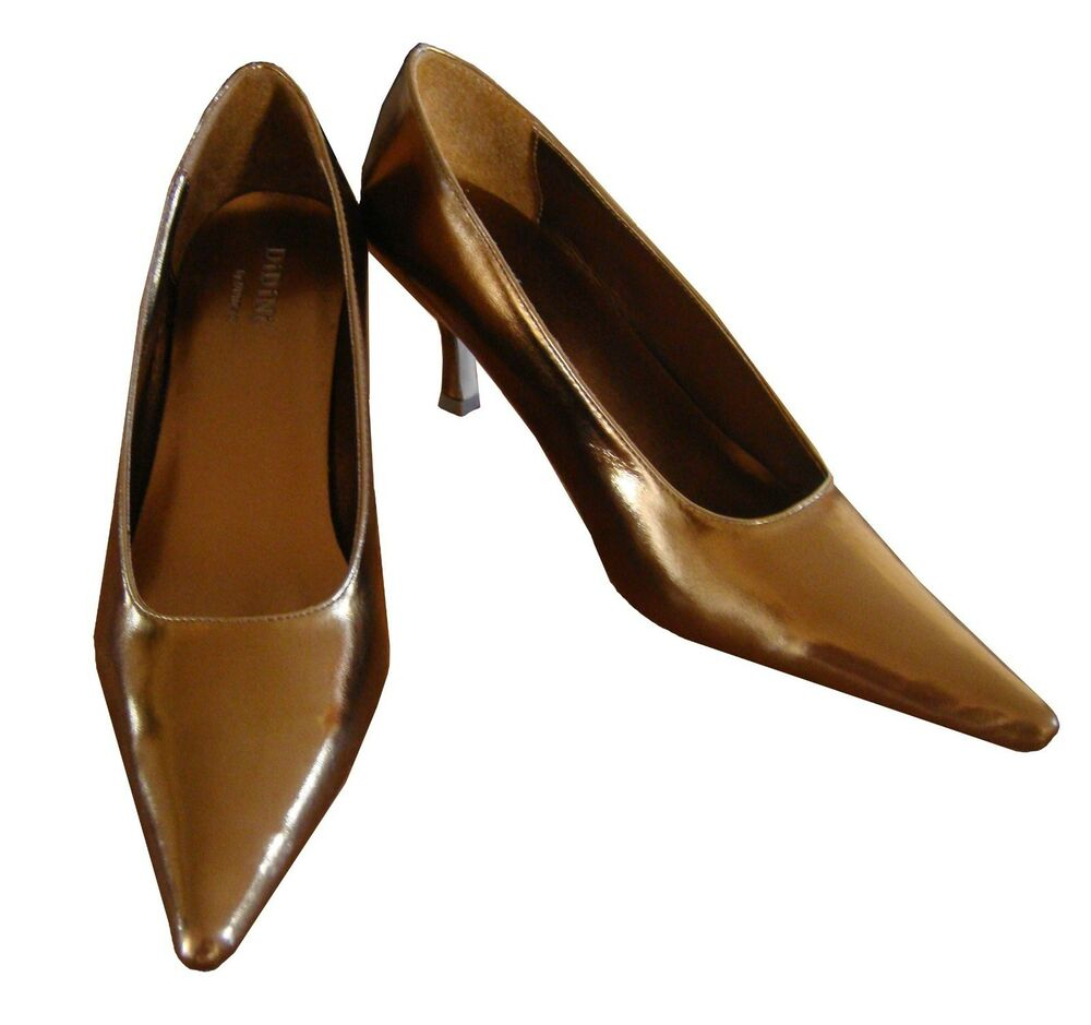 Bronze Low Heel Evening Shoes