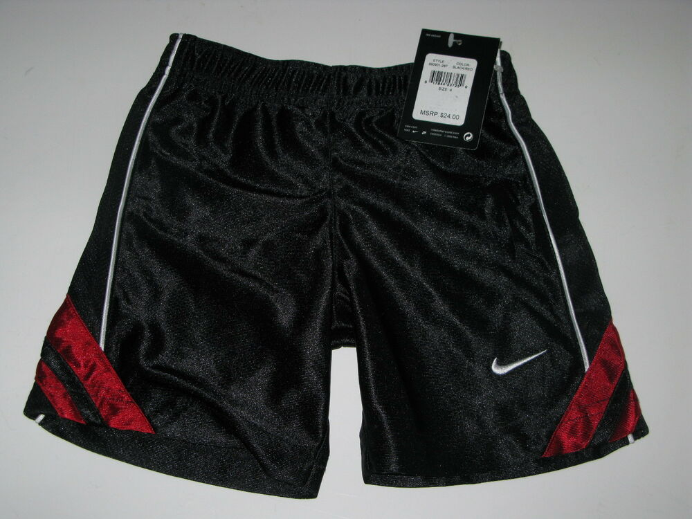 NWT Nike Boys *4* Black Red Shorts Short Pants Summer ...