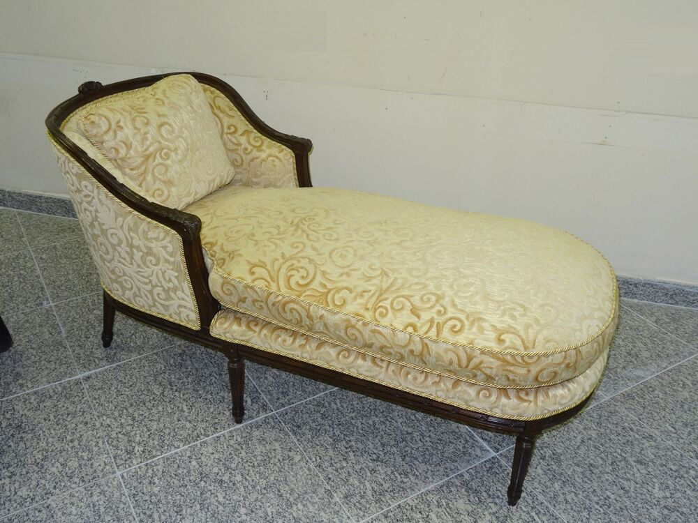 Antique louis xvi style lush new upholstered carved wood for Carved wooden chaise