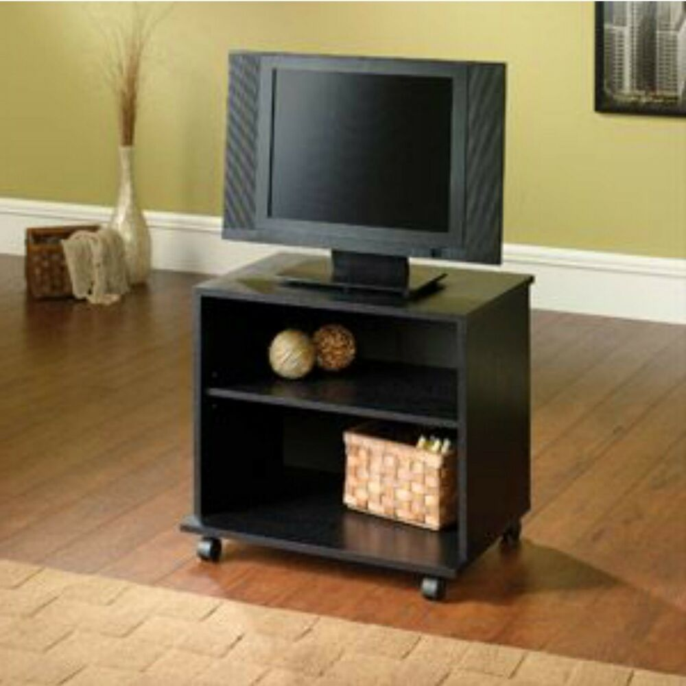 Stand Tv Entertainment Wood Center Black Furniture Storage