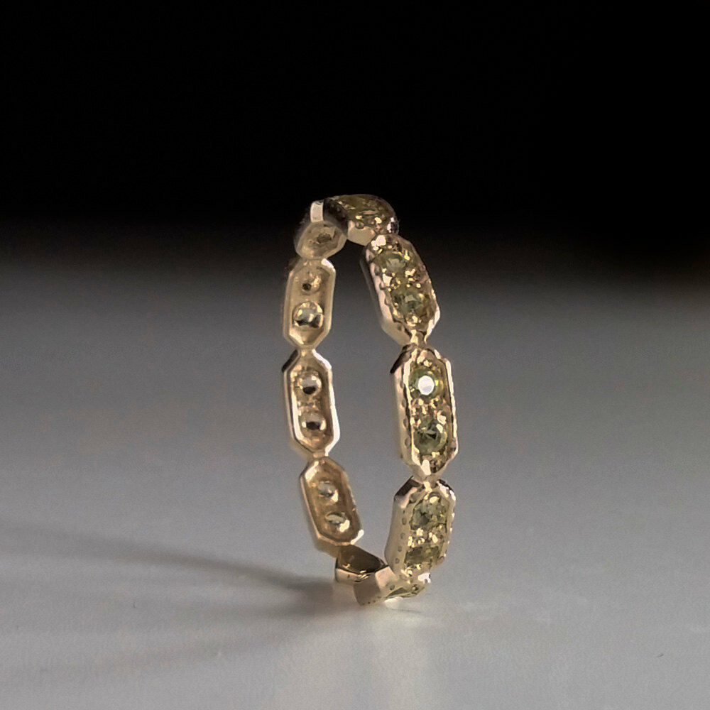 peridot eternity ring green stone ring thin band. Black Bedroom Furniture Sets. Home Design Ideas