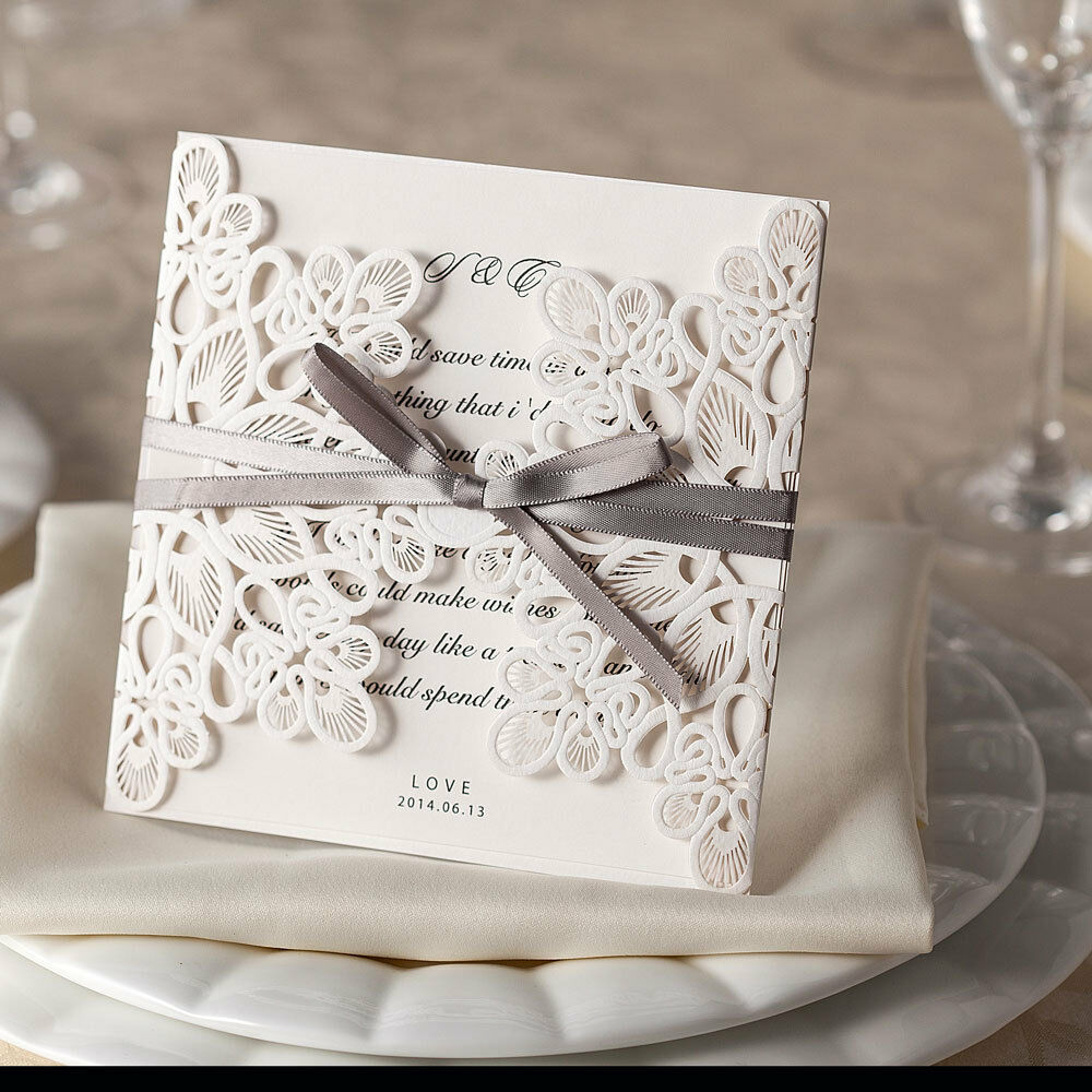 RIBBONS AND LACE LASER CUT EMBOSSED WEDDING INVITATIONS